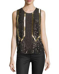 TA9DZ Nicole Miller Armor Sleeveless Beaded Top, Black/Gold