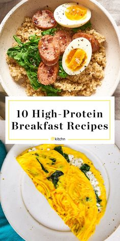 10 Satisfying High-Protein Breakfast Recipes - Healthy Eating İdeas For Exercise High Protein Snacks, Low Carb High Protein, High Protein Dinner, Protein Rich Foods, Best Protein, High Protein Recipes, Protein Cake, Protein Muffins, Protein Cookies