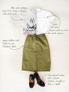 Outfit of the day ... green handmade leather skirt