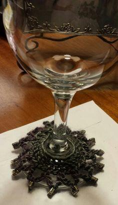 Beaded wine glass skirt/charm!  I got the pattern from maggiescrochet.com