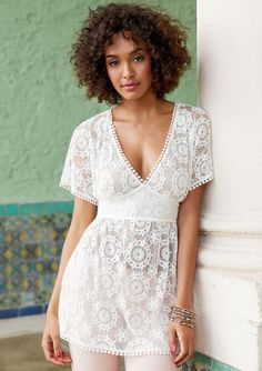 NEW Size XS - 3X Plus Womens Romantic Boho Style Top Knit Shirt White Lace Tunic