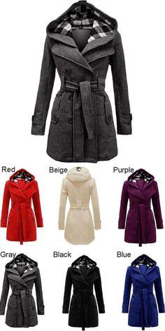 Fashion Lattice Fleece Hoodie Double Breast Coat Jacket for my sister ! #coat #new #winter #gift #jacket
