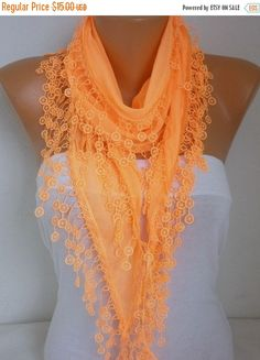 Orange Cotton Scarf Fall FashionHalloweenNecklace by fatwoman