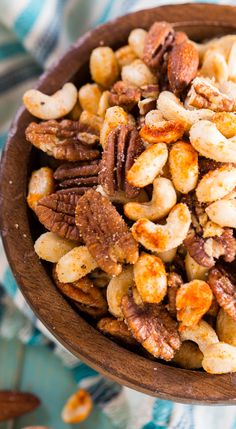 Cajun Nuts -make a great party snack. Flavored with plenty of spices, some sugar, and a little bacon grease. | Spicy Southern Kitchen