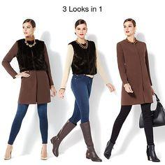 IMAN Platinum Luxe City Coat with Couture Faux Fur Vest