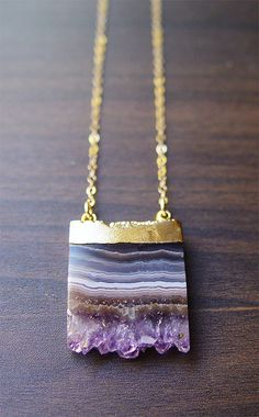 Purple Amethyst Stalactite Necklace 14k Gold OOAK by friedasophie, $79.00