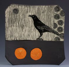 Patricia Griffin Studio: One Bird, Two Orange Spots, Three Days! Ceramic Mugs, Ceramic Pottery, Ceramic Art, Sgraffito, Raven Art, Crow Art, Pottery Making, Modern Ceramics, Abstract Sculpture