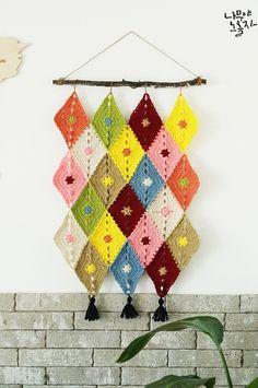 Crochet Wall Art, Crochet Wall Hangings, Crochet Home, Love Crochet, Knit Crochet, Crochet Bunting, Crochet Garland, Crochet Bear Patterns, Macrame Patterns