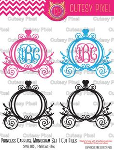 Princess Carriage Monogram Frames set 1 Please have a look at my other art! https://www.etsy.com/shop/CutesyPixel This is Digital artwork ready for