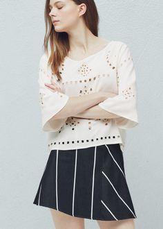 Openwork trim blouse - Shirts for Women | MANGO