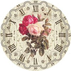 Vintage Clock Face and Roses Background Decoupage Vintage, Vintage Ephemera, Vintage Paper, Vintage Art, Vintage Clocks, Vintage Roses, Clock Face Printable, Printable Art, Printables