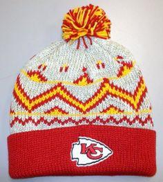7a13e74f960 Reebok Kansas City Chiefs Red-Natural Cuffed Pom Knit Beanie by Reebok.   9.99.