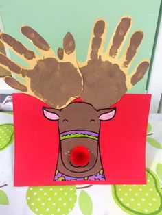 Craft activity / activities including an equipment list, and step by step instructions for making a Rudolph Christmas card. Rudolph Christmas, Christmas Card Crafts, Christmas Activities, Christmas Ideas, Reindeer Handprint, Handprint Art, Footprint Art, Kids Class, Expressive Art