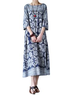 ZANZEA Women Loose Retro Printed 3/4 Sleeve Maxi Dresses - Banggood Mobile