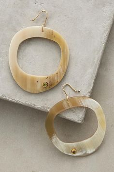 Carved Horn Hoops - anthropologie.com