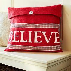 red burlap pillow