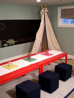 For playroom- love the tent and chalkboard on wall. Cubes are great for little ones to sit.
