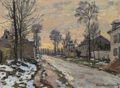 Claude Monet, Route à Louveciennes, neige fondante, soleil couchant