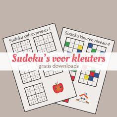 Gratis downloads van 8 vellen met sudoku's voor kinderen. Met kleuren en cijfers, verschillende niveaus.