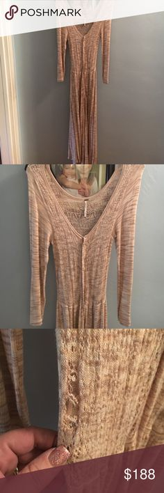 Free People original Prairie Dress in oatmeal The only reason I am selling is because it has a while in it😭😭this dress looks amazing on the hole is shown in pictures 3 if you wear a camisole in beige under the hole won't be noticed also can be sown other then that the dress is impeccable condition it is part of my personal collection amazing priced for hole 🙁 Free People Dresses Midi