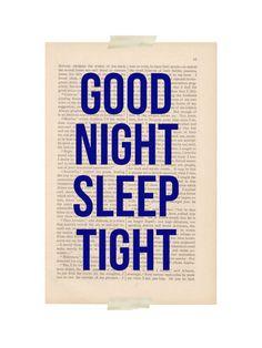 boy nursery decor  GOODNIGHT SLEEP TIGHT  by ExLibrisJournals, $9.00