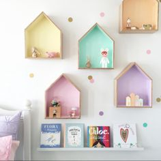 ▷ Ideen und Inspirationen für ein DIY Wandregal 1001 ideas and inspirations for a DIY wall shelf diy wall shelf kids room colorful wooden shelving small figures books bed The post 1001 ideas and Baby Bedroom, Girls Bedroom, Kid Bedrooms, Room Girls, Childrens Bedrooms Girls, Bedroom Ideas, Teenage Bedrooms, Bedroom Decor, Room Baby