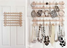 A repurposed thread rack can be used to store many other things—like jewelry