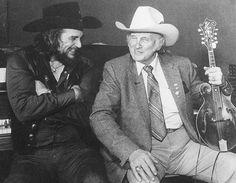 Waylon Jennings and Bill Monroe. Old Country Music, Outlaw Country, Country Music Artists, Country Music Stars, Country Singers, Country Boys, Rockabilly Boys, Bill Monroe, Waylon Jennings