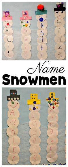 Make name snowmen for a super fun winter activity for preschoolers #Preschool #PreK #Snowman #PreschoolTeacher #FunADay #Literacy #ECE #Kindergarten