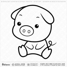 Boians Vector Black And White Pig character sits forward.