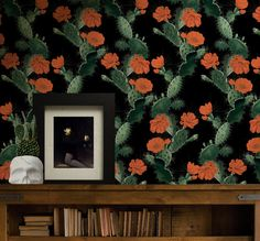 CACTUS (night red) -  KH captures the uniqueness of this spiney plant and presents it as a stylized design of pure raw cactus beauty. #cactus #wallpaper #interior #tropical #botanical #black #redfloral #kingdomhome