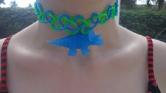 Tattoo choker blue and pink dinosaur by CandraMikaylah on Etsy, $7.00