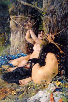 Las hijas del Cid - Oil on Canvas - Ignacio Pinazo Camarlench - c. 1879
