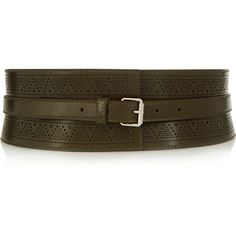 Alexander McQueen Wide leather belt ($1,090) ❤ liked on Polyvore featuring accessories, belts, green, genuine leather belt, perforated belt, alexander mcqueen, leather belt and wide belt