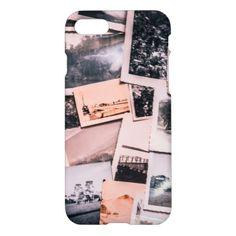 #white - #Nostalgic photo print background of a collection o iPhone 7 case