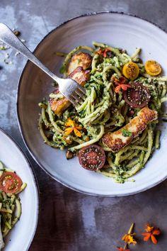 Green Goddess Zucchini Pasta with Fried Halloumi   halfbakedharvest.com @hbharvest