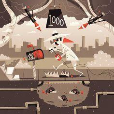 Poolga Wallpaper - White Spy | Illustrator: Andrew Kolb - http://www.kolbisneat.com