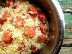Crock Pot Kielbasa & Sauerkraut...I don't even like kielbasa but this was amazing!!! Add an apple and a dash of Worcestershire