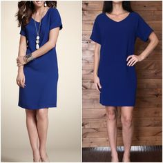 """CHICO'S  Shirtdress CHICO'S 'Veronica' v-neck shift dress in Loyal Blue. Relaxed fit. Rolled cuffs sewn in place. Style tip: add a belt for a modern look.  Chico's Size 1, fits like a 6 Medium. 100% polyester. 35"""" shoulder to hem. 20"""" armpit to armpit. Chico's Dresses Mini"""