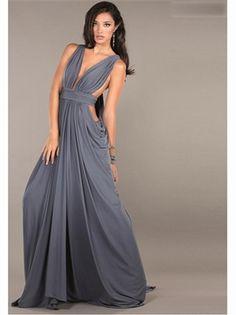 Grey Deep V-Neck Chiffon 2013 Prom Dresses
