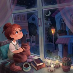 Find images and videos about girl, love and cat on We Heart It - the app to get lost in what you love. Cartoon Kunst, Anime Kunst, Cartoon Art, Anime Art, Art And Illustration, Landscape Illustration, Book Illustrations, You Are My Moon, Poster Print