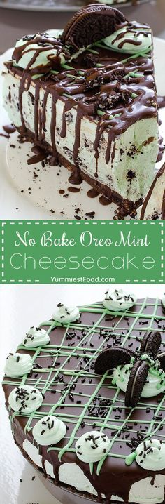 No Bake Oreo Mint Cheesecake - try to make this Cheesecake and you will see that you have never made easiest cake that is so yummy! So easy to make without baking Oreo Mint Cheesecake!
