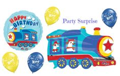 Train Birthday Party Balloons Happy Birthday by PartySurprise