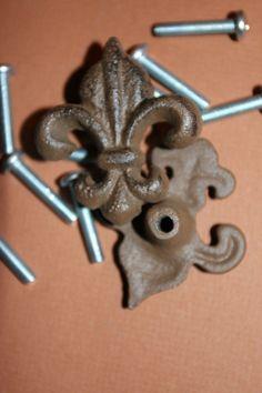 (10) Fleur De Lis Drawer Knobs, French Style Knobs, Cabinet Knobs, Cabinet Pulls #FLEURDELISCABINETKNOB