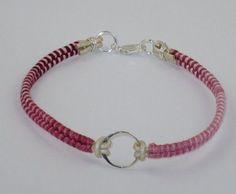 Handmade Sterling Silver Karma Leather & Cotton Cord Bracelet