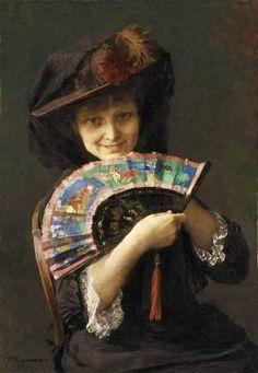 Portrait of a Girl with a Fan ~ Bertha Wegmann ~ (Danish: 1847-1926)