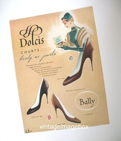 DOLCIS Courts Shoes by Bally vintage paper advert, 1950s era fashion illustration,  by VintageImageBox