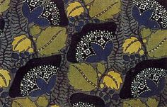 lunar-danse:    Textile design by Lotte Fromel-Fochler, produced by the Wiener Werkstatte in 1912.