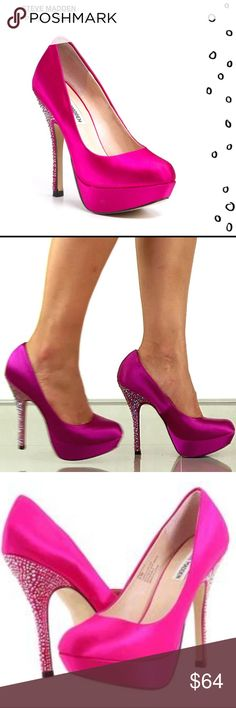 Steve Madden 'Partyy-R' satin fuchsia heels Fabulous Steven Madden 'Partyy-R' fuchsia satin heels with rhinestones. Worn a handful of times, with lots of life left in them! Only real sign of wear is the scuff mark on the right shoe as seen in pic 6. The perfect party heel! Steve Madden Shoes Heels