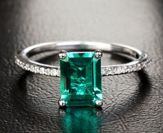 2.33ct Emerald 14k White Gold Pave VS H Diamonds by ThisIsLOGR, $299.00